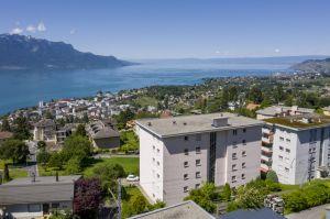 Superbe vue panoramique sur le lac et les montagnes