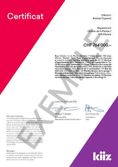 Kiiz Certificat